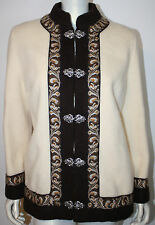 A S EVEBOFOSS Norway Crème Brown Nordic Wool Cardigan Jacket 44 US 8 10 12