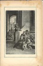 Stampa antica PROMESSI SPOSI epidemia di peste a Milano 1887 Old antique print