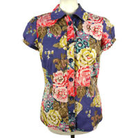 Joules Size 14 Blue Multicoloured Floral Short Sleeve Blouse Shirt Top Fitted