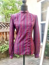 Rare Vintage ANDRE LAUG COUTURE Silk Blouse, Print Pattern