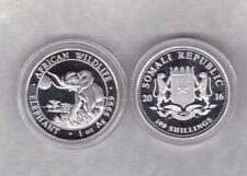 2016 República somalí una onza plata moneda Elefante de cápsula de nuevo, sin usar en