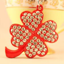 Red Four Leaf Clover Keychain Crystal Charm Purse Symbols Key Chain Gift 01204
