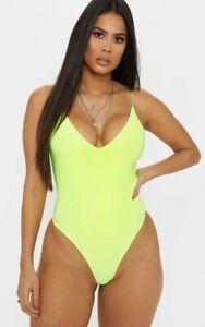 Pretty Little Thing Neon Yellow Spaghetti Strap Bodysuit Summer Rave Sz 10