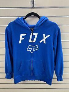 FOX  HEAD RACING YOUTH XL Blue Full Zip Hooded Sweatshirt W/ LOGO