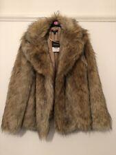 TOPSHOP - Brown Vintage Faux Fur Coat - UK12