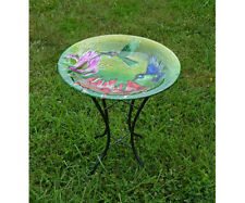 Bird Baths Fluttering Hummingbirds Glass Bird Bath with Stand Se5043