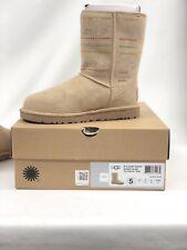 UGG Australia Women's Classic Short Serape Bling Boots Sand Sheepskin Suede Sz.5