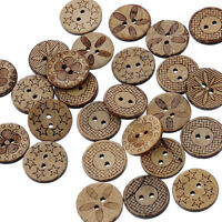 NE_ 50Pcs Mixed Pattern Coconut Shell 2 Holes Sewing Buttons DIY Scrapbooking We