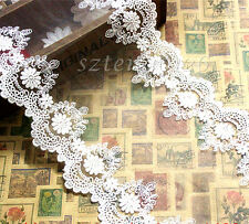 175mm Wide Tulle Lace Trim Applique Floral Embroidery Net Edging Sewing Craft