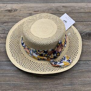 SENSI STUDIO Panama Hat Women's Medium Beige Scarf Wrapped Sun Hat NEW!