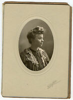 Antique Photo in Folder - Helena Montana - Lady Looking to Side - Fancy Top
