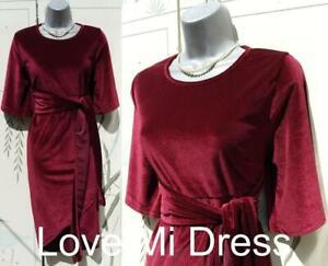 Boohoo - Gorgeous Velvet Style Tie Waist Dress Sz 14 EU42
