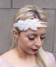 White Ivory Pearl Beaded Headband Headpiece 1920s Flapper Vtg Great Gatsby 4654