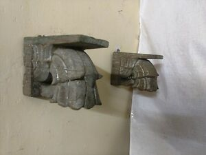 Antique Corbel Pair Wall Hanging Wooden Bracket Vintage corbel Home Decor Rare
