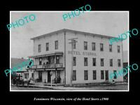 OLD LARGE HISTORIC PHOTO OF FENNIMORE WISCONSIN VIEW OF THE HOTEL STORRS c1900