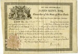 James Kent signed document as NY Chancellor - important early American jurist