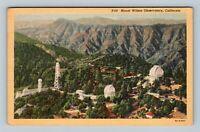 Mount Wilson Observatory CA, Aerial View, Linen California Postcard