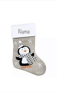 Personalised Christmas Penguin Stocking Embroidered Santa Sack Bag Grey Nordic