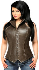 Daisy Corsets TOP DRAWER FAUX LEATHER Collared Fullbust Steel Boned Bustier 4x