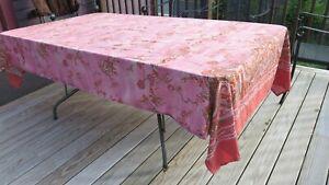GRANFOULARD BASSETTI Pink Paisley Floral Tablecloth 66 x 105 Cotton Weathered