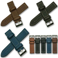 Thick Mens Genuine Calf Leather Watch Strap Band Tan Brown Black Blue 18mm 24mm