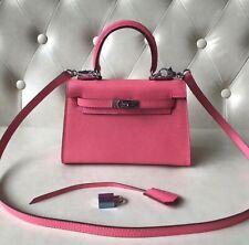 FP Womens Mini Lock Detail REAL Leather Shoulder Bag Satchel 8 Cr