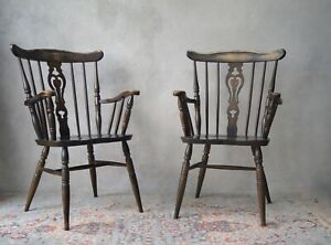 Pair of Oak Armchairs Carver Chairs Country Farmhouse - Delivery Available