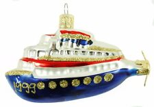 Glass Blue White Red Submarine Czech Republic Christmas Ornament Holiday