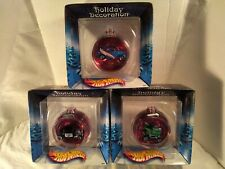 Lot of 3 Hot Wheels Holiday Decoration Ornaments NEW IN BOX 2002, Race Team Cart