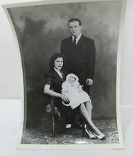 Young Couple Holding Baby Vintage B/W Picture Photo Snapshot