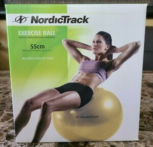 """New Nordic Track Exercise Ball Yellow 55cm to 5'6"""" Exercise Chart & Pump #27118"""