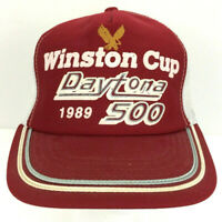 Vtg Winston Cup Daytona 500 Cap 1989 Nascar Hat Mesh Snapback Trucker Racing USA