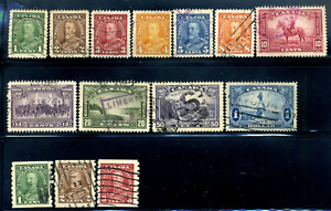 Canada #217-230 used VF 1935 King George V Pictorial Issue Set CV$41.05