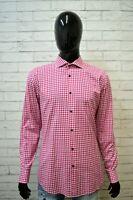 Camicia a Quadri Uomo HUGO BOSS Taglia 41 XL Slim Manica Lunga Maglia Shirt Man