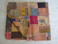 Indian Vintage Kantha Quilt Handmade Patchwork Cotton Bedspreads Blanket Throw