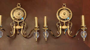 PAIR Elegant Traditional Brass Crystal Wall Sconces