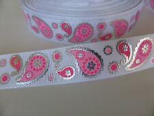 "Pink Paisley Foil Grosgrain Ribbon 22mm (7/8"") wide x 1 meter"