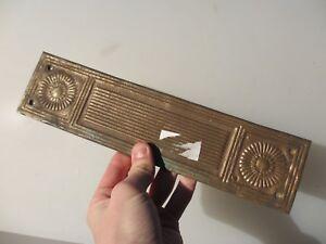 """Vintage Bronze Door Handle Finger Push Plate Old Antique Art Deco Brass /""""Ching/"""""""