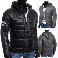 Cipo & Baxx Mens Windbraker Jacket Shimmering Removable Hoodie Zip-Up Black Grey