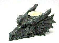 Gothik Teelichthalter Drachenkopf 13 cm tief, Fantasy Figur, WGT