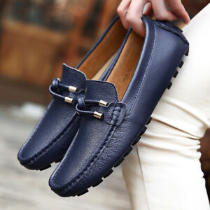 Men's Genuine Leather Casual Driving Moccasins Boat Shoes Slip On Loafers Flats