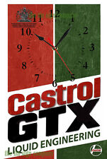 CASTROL GTX WALL CLOCK. RUSTED LOOK. GREAT FOR GARAGE, MANCAVE PETROL HEAD ETC.
