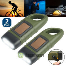 2 Pack Emergency Torch Hand Crank Solar Powered Rechargeable 3 LED Flashlight