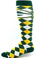 Green Bay Packers Football Green Yellow White Argyle Knee Socks