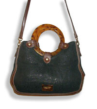 Relic Black Woven Purse w/Brown Pleather/Round Tortoise Shell-Look Handles/Strap