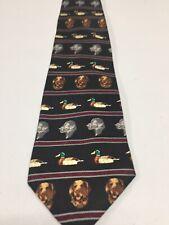 Field and Stream Dog & Duck Mens Necktie Small Print Duck Hunt Dog Tie