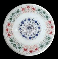 """14"""" Round Marble Coffee Table Top Lapis Carnelian Micro Floral Inlay Decor W367"""