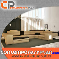 Large Taupe Italian Leather Sectional sofa with Built-in Lights Oversized Chaise