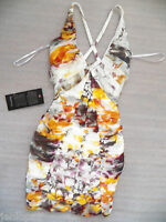 NWT bebe white v neck straps cross back mesh ruched skirt sexy top dress XS 0 2
