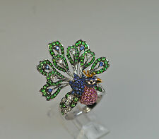 18k MULTI GEM PINK SAPPHIRE GREEN TSAVORITE DIAMOND PEACOCK BIRD ANIMAL RING